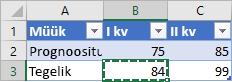 Väike tabel, kus on näha kopeeritud lahter