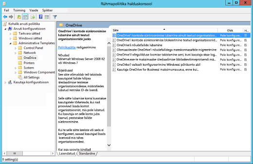 Arvuti konfiguratsiooni poliitikate rühmapoliitika halduskonsoolis rakenduses