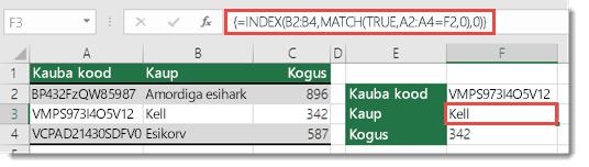 Funktsiooni INDEX ja MATCH kasutamine üle 255 tärgiga väärtuste otsimiseks