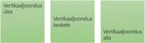 Kolm vertikaalset tekstijoonduse suvandit: üles, keskele ja alla