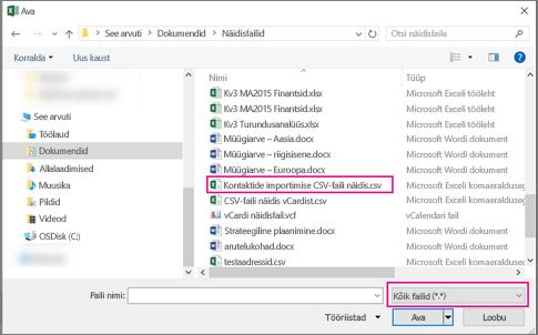 CSV-faili otsimisel valige kindlasti otsingusuvand Kõik failid.
