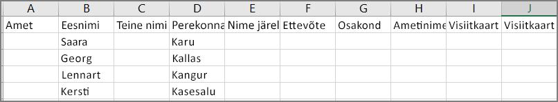 Näide sellest, milline näeb välja CSV-fail pärast kontaktide importimist Outlookist