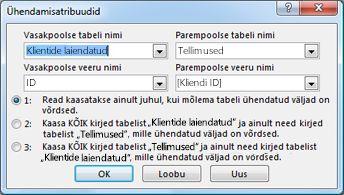 Dialoogiboks Ühenduse atribuudid