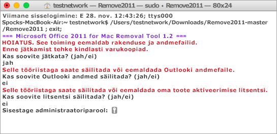 Käivitage tööriista Remove2011 abil Control + Click, et avada.