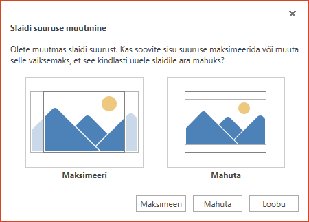 Valige ruumi maksimaalseks kasutamiseks Maksimeeri või sisu mahutamiseks vertikaalse paigutusega lehele Mahuta.