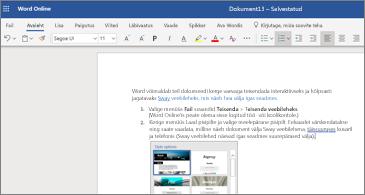 Word Online ' is olevate piltidega dokument