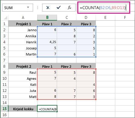 Funktsiooni COUNTA kasutamine kahe lahtrivahemiku loendamiseks