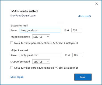 Kinnitage oma Gmaili IMAP-seaded.