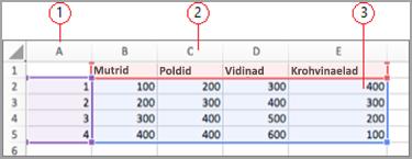 Exceli andmete väljad