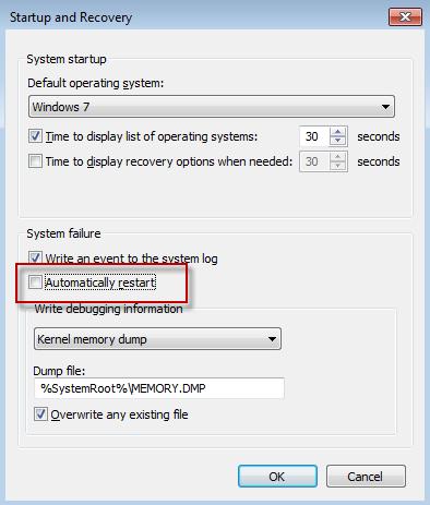 """Käivitus ja taaste, eemaldage see """"Automaatselt uuesti"""" süsteemitõrke puhul. Klõpsake tühjendage märkeruut """"OK"""""""