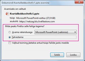 Mida peaks Firefox selle failiga tegema?