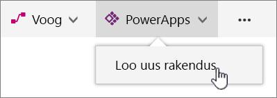 PowerAppi menüü käsuribal, kus on esile tõstetud uue rakenduse loomise valik