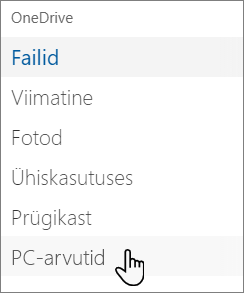 OneDrive'i portaali vasakpoolne navigeerimispaan, kus on kuvatud arvutid
