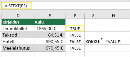 Lahtris F2 väärtus =ISTEXT(E2) ja tulem TRUE