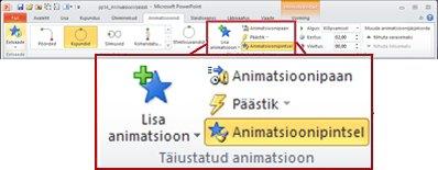 Menüü Animatsioonid PowerPoint 2010 menüülindil
