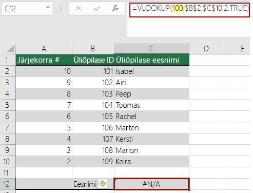 Tõrge N/A funktsioonis VLOOKUP, kui  otsinguväärtus on massiivi väikseimast väärtusest väiksem
