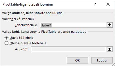 PivotTable-liigendtabeli loomine