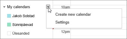 Valige Minu kalender ja seejärel valige Sätted