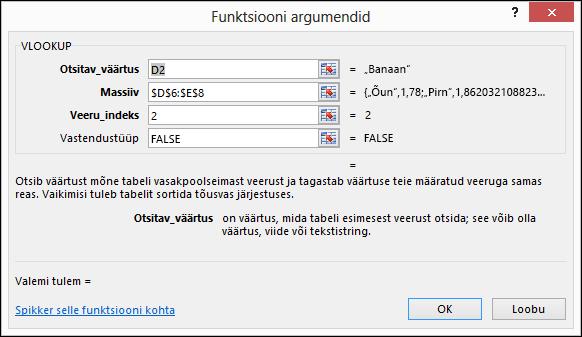 Dialoogiboksi Valemiviisard näide.