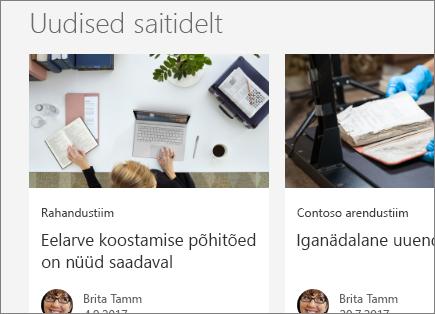 SharePointi saitide Office 365 Uudised