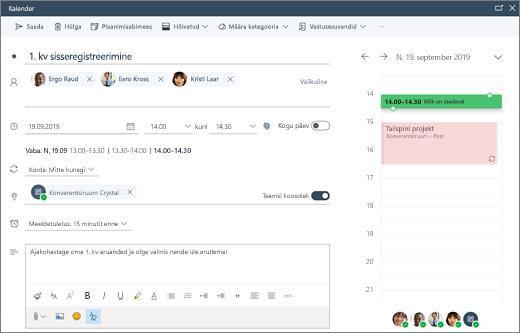Koosoleku ajastamine Outlooki veebirakenduses