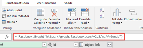 Power Query päringuredaktor Facebooki valemiga