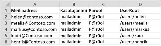 Migreerimise näidisfaili Courier IMAP-i jaoks