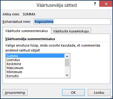 Exceli dialoog Väärtusevälja sätted sätetega Väärtuste summeerimisalus