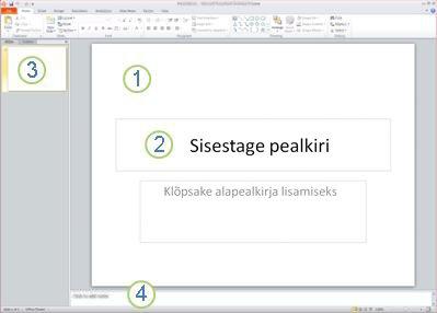 Rakenduse PowerPoint 2010 tööruum ehk normaalvaade, neli ala on sildistatud