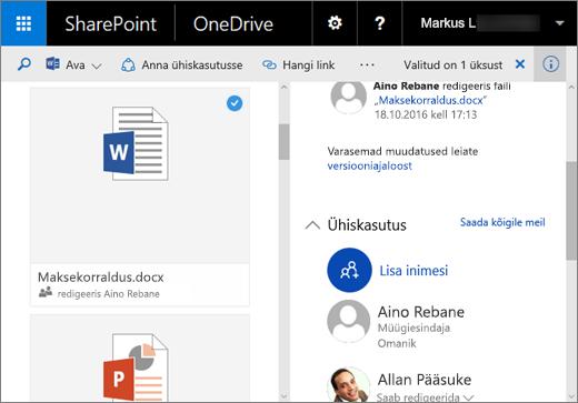Kuvatõmmis – üksikasjapaan OneDrive for Businessis serveris SharePoint Server 2016 koos funktsioonipaketiga Feature Pack 1