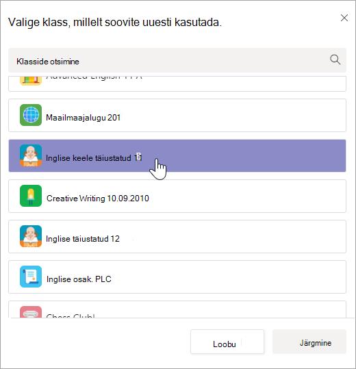 Valige klassi kaudu uuesti kasutada.