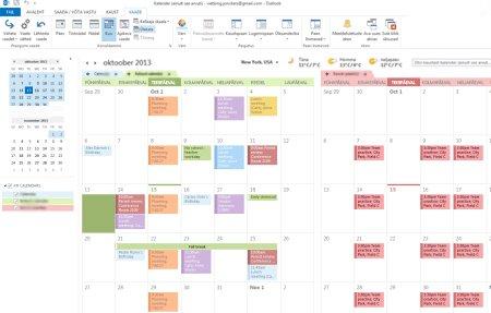 Näide kalendritest kõrvutirežiimis ja ülekatterežiimis
