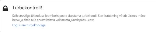 Näide OneDrive'i toomise taotlus kinnituskoodi kasutajaliidese teatisest