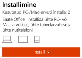 Näitab installide arvu ja nuppu Installi