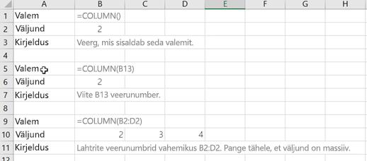 Funktsiooni COLUMN näited