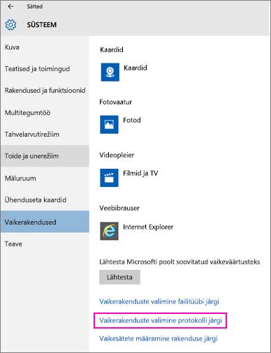 Operatsioonisüsteemi Windows 10 sätte Vaikerakenduste valimine protokolli järgi kuvatõmmis.