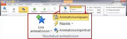 PowerPoint 2010 lindi menüü Animatsioonid jaotis Täiustatud animatsioon