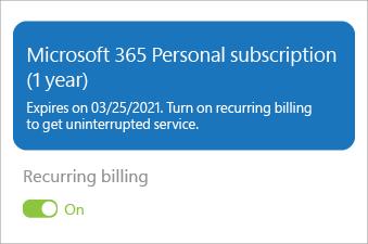 Kuvab Microsoft 365 Personali tellimuse, kus korduv arveldamine on sisse lülitatud.