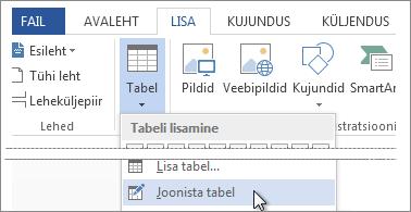 Joonista tabel