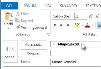 Topeltklõpsake nimede loendi kuvamiseks kontaktirühma