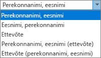 Outlooki suvandite vahekaart Inimesed, kus on kuvatud esitusviisi loendi suvandid