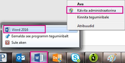 Paremklõpsake Wordi ikooni ja seejärel paremklõpsake uuesti Wordi, et käivitada programm administraatorina.