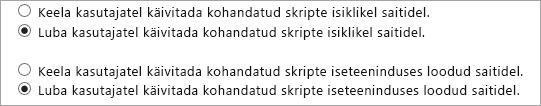 Kohandatud skript lubada suvandid