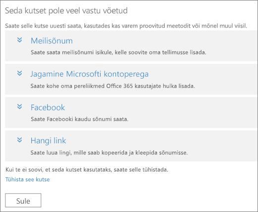 Kuvatõmmis ootel kutse dialoogiboksist, milles kuvatakse suvandid lingi uuestisaatmiseks meilisõnumiga, Microsofti kontopere, Facebooki või kohandatud lingi kaudu ja link kutse tühistamiseks.