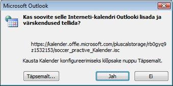 Dialoogiboks Kõik Outlooki lisatavad Interneti-kalendrid