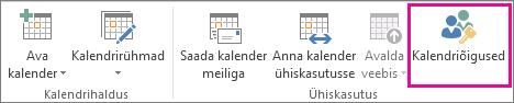 Nupp Kalendri õigused Outlook 2013 menüüs Avaleht