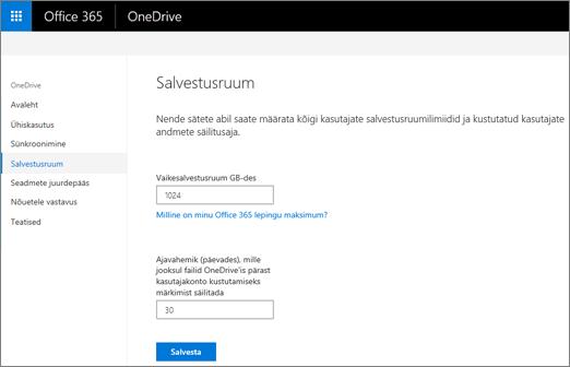 OneDrive'i halduskeskuse menüü Salvestusruum
