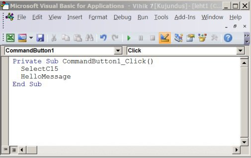 Alamprotseduur Visual Basic Editoris