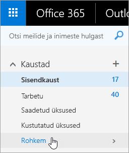 Kuvatõmmis kursorist, mis on Outlooki veebirakenduses viidud navigeerimispaanil nupule Rohkem.