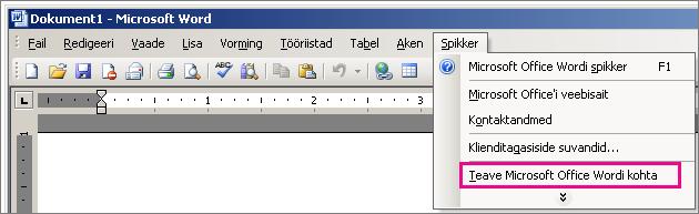 Valik Spikker > Teave rakenduse Microsoft Office Word kohta rakenduses Word 2003